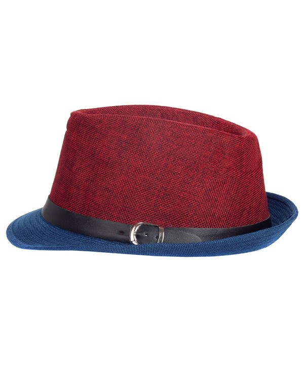 Aerusi Men's Fusion Straw Fedora Hat - Red Blue - CG128DICVSV