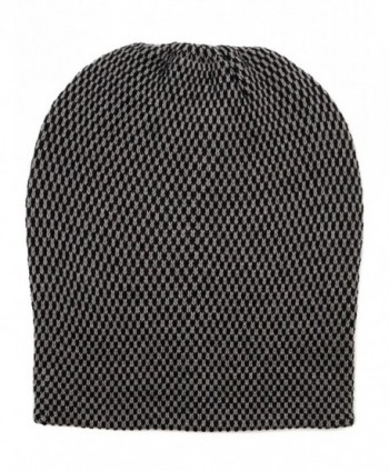 FUNKY JUNQUE's CC Men's Checker Slouchy Beanie - Knit Cap - Skull Winter Hat - Black/Charcoal - CS128G8PGTJ
