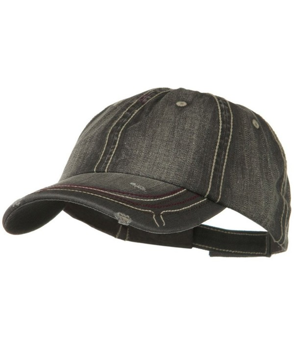 Low Profile Heavy Wash New Herringbone Distressed Cap - Black - CS11918HF9N