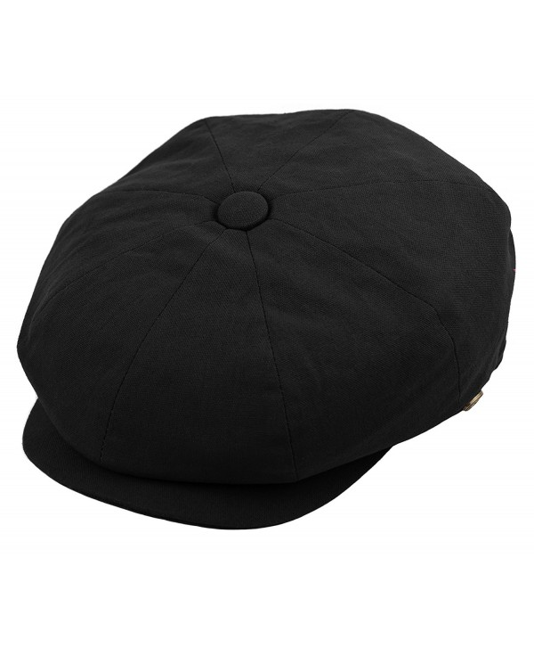 Deewang Mens newsboy Cap- Patchwork Cabbie- Driving Cap- Light Weight Applejack Hat - Black - CY182YR7WQQ