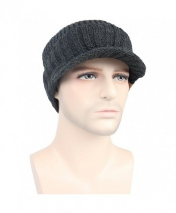 Men s Outdoor newsboy Hat With Visor Winter Warm Thick Knit Beanie Cap -  Dark Grey - C71863TW0TC 323a466f2fa