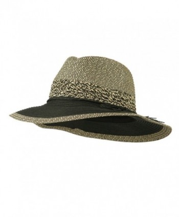 Floppy Paper Braid Panama Hat - Black - CL11V0OG5JH