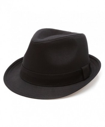Classic Trilby Short Brim 100% Cotton Twill Fedora Hat with Band - Black - CS183KUWMKN