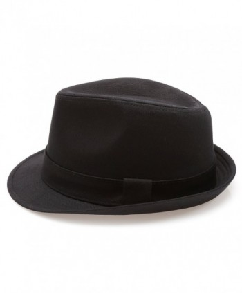 Classic Trilby Short Brim 100% Cotton Twill Fedora Hat with Band ... f634c52d62f