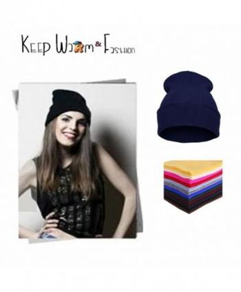 MWMart Beanie Hat Slouchy Winter Hats Knit Sports Fold Beanie Cap Unisex Solid Color - Blue - C9188M53S07