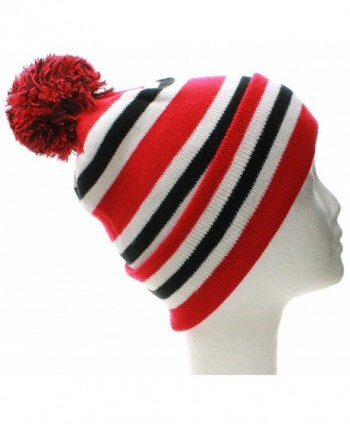 American Cities Chicago Block Letters Cuff Beanie Knit Pom Pom Hat Cap - Plain Red Black - CV11QK63FOX