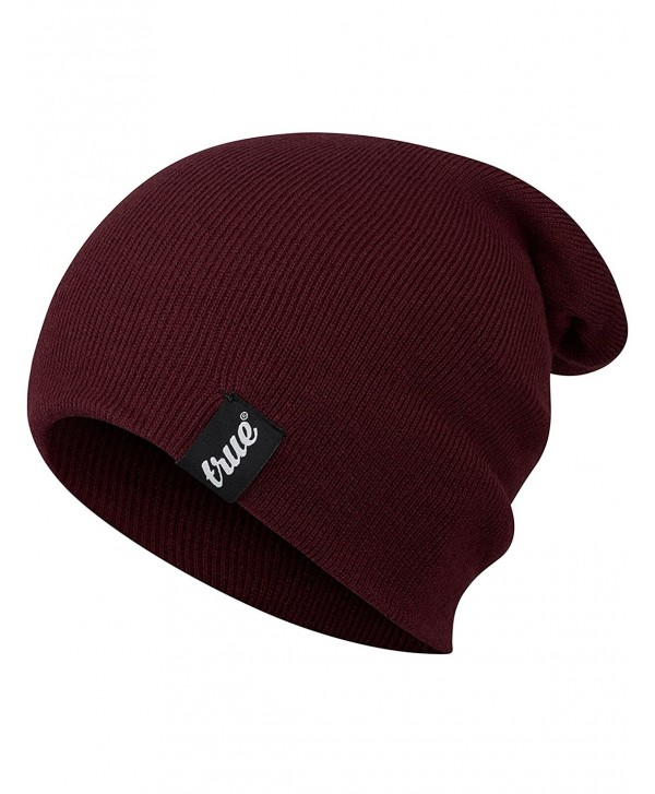 TRUE VISION Mens Beanie Hat Slouch or Traditional Style One Size Knitted Unisex - Burgundy - C1183S2DX2N