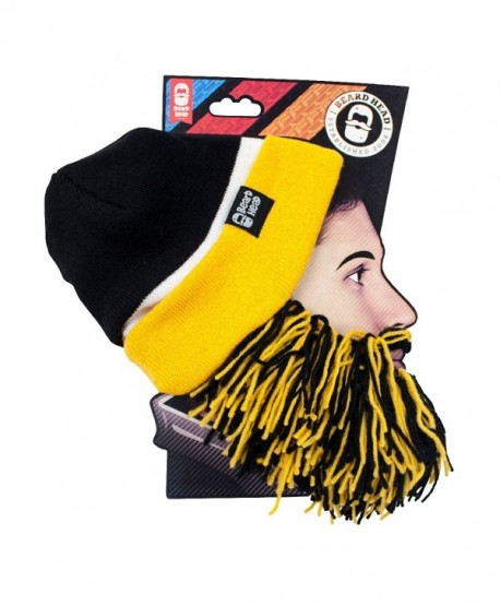 Beard Head Tailgate Series Knit Beanie w/ Beard Hat - Black & Yellow - CT11HKVQKYJ