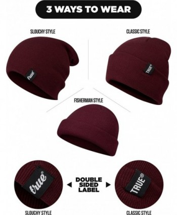 TRUE VISION Mens Burgundy Beanie in Men's Skullies & Beanies
