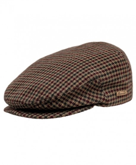 Wool Petersham Traditional Ivy League Snapbill Flat Cap - Houndstooth - CL11OMI86VX