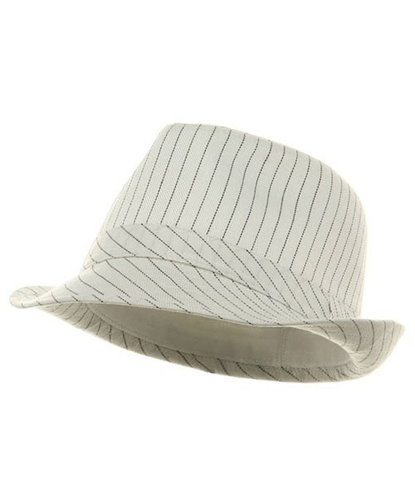 Big Size Pinstripe Fedora Hat-White Black (For Big Head) - CY112KUI845