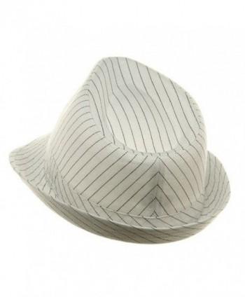 Size Pinstripe Fedora Hat White Black