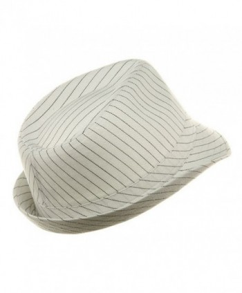 Size Pinstripe Fedora Hat White Black in Men's Fedoras