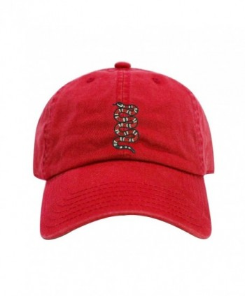 ChoKoLids King Snake Dad Hat Cotton Baseball Cap Polo Style Low Profile 12 Colors - Red - CN1803HK4NW