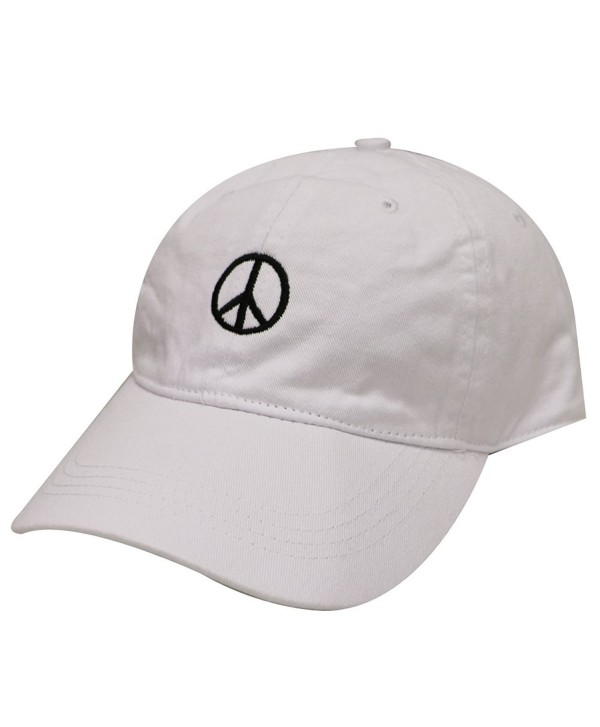 City Hunter C104 Peace Sign Cotton Baseball Dad Cap 16 Colors - White - CH17Z2DT67N