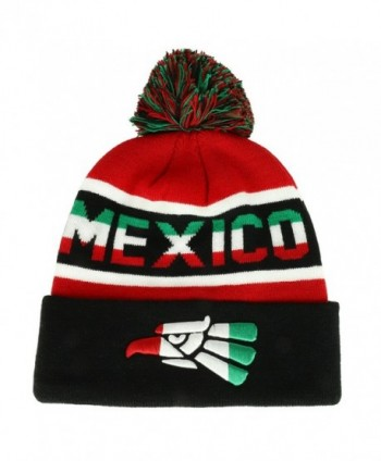 Trendy Apparel Shop Hecho EN Mexico Cara Cara Eagle Embroidered Cuff Pom Beanie - Red Black - C2188W2Q0Z3