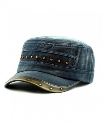 THE HAT DEPOT Light Weight Cotton Leather Accent Beaded Washed Cap Hat - Navy - CU125IZGX95