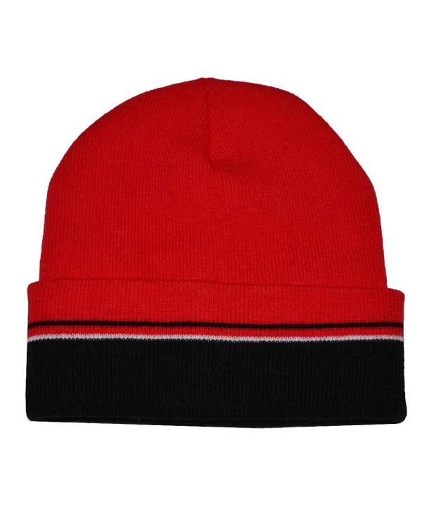 8af9e833315b9 The G Cap G Men s Winter Multi Stripe Cuffed Beanie Knit Hat - Black Red  White