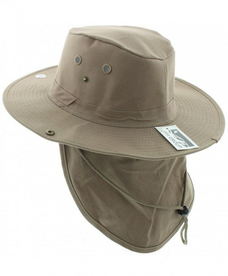 JFH Wide Brim Bora Booney Outdoor Safari Summer Hat w/Neck Flap & Sun Protection - Khaki Solid - CP183K4ETE3