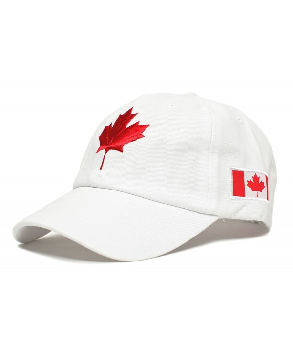 Canada Dad Hat Canadian Maple Leaf Cap Flag Embroidered Unisex Adult - White - C61836H9Q5M