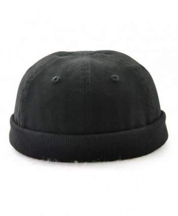 Melii Cotton Kufi Hats Muslim Islamic Skull Prayer Cap Solid For Men Teen Boys - Black - CA18980L34O