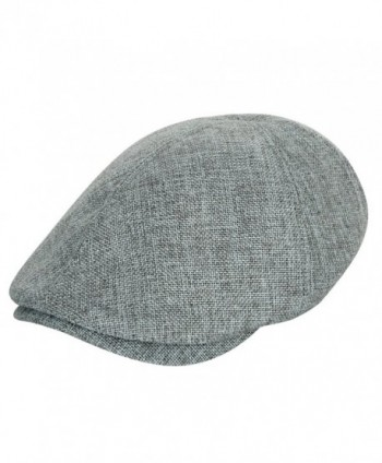 ililily Linen-like Flat Cap Cabbie Hat Gatsby Ivy Irish Hunting Stretch Newsboy - Grey - CQ11DFOW2KL