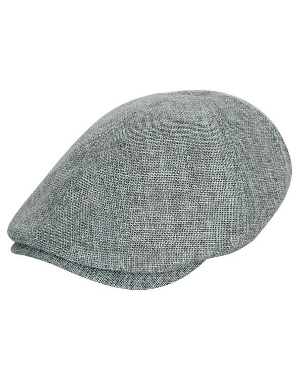 ililily Linen-like Flat Cap Cabbie Hat Gatsby Ivy Irish Hunting Stretch Newsboy - Grey - CQ11DFOW2KL