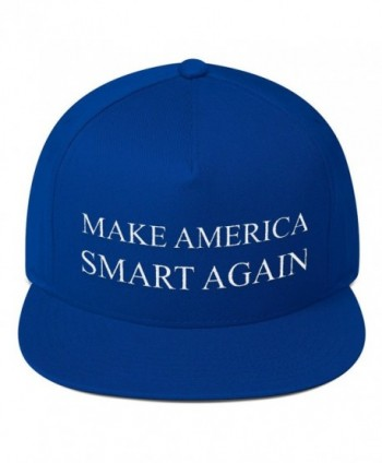 Make America Smart Again Flat Bill Cap - Royal Blue - CH12O7YLTL5