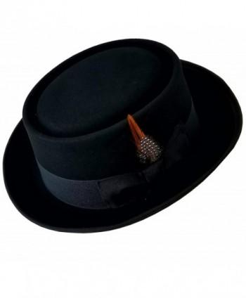 SHAHIN Men's Flat Top 100% Wool Felt Porkpie Pork Pie Hats W/Feather - Black - CA185H2HS2C