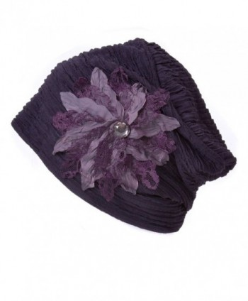 Casualbox Charm Womens Flower Hat Beanie Cute Slouchy Ladies Fashion Elegant Floral - Purple - CE1256X0OAH