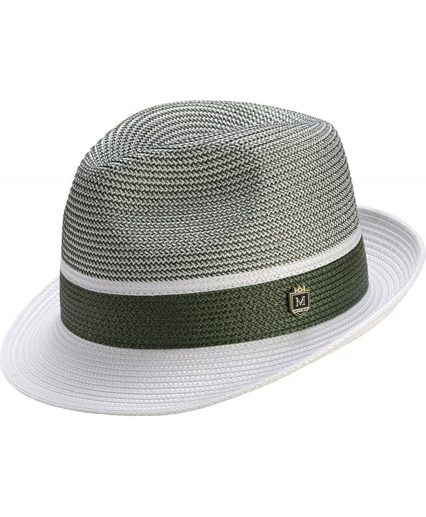 Montique Men's Braided Two Tone Pinch Fedora Hat H22 - Hunter - C218227G4ZO