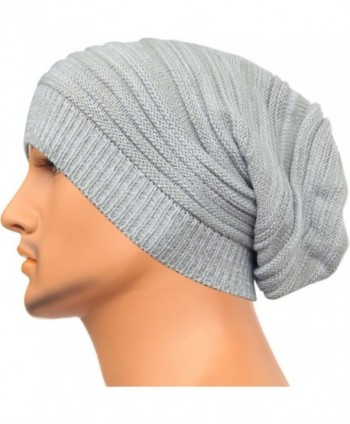 Rayna Fashion Unisex Beanie Hat Slouchy Knit Cap Skullcap Stripe Baggy Style 1017 - White - CE128ZOVVL1