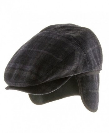 Tusco Wool Grey Plaid Ivy Cap Newsboy Hat with Fleece Ear Flaps - Navy - CG11POHBUEL