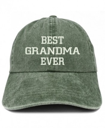 Trendy Apparel Shop Best Grandma Ever Embroidered Pigment Dyed Low Profile Cotton Cap - Dark Green - CF185LU2RL5