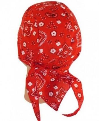 Skull Cap Biker Caps Headwraps Doo Rags - Red Paisley - CO12ELHP99B
