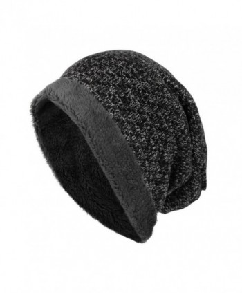 Beanie-Elaco Unisex Outdoors Winter Warm Knit Crochet Velvet Ski Hat - Black - C612O3H3TMS