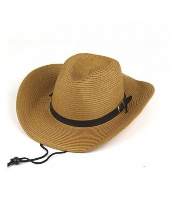 Opromo Adults Kids Cowboy Straw Hat Wide Brim Hat Summer Beach Sun Cap Foldable - Khaki - C4184YRTGE2