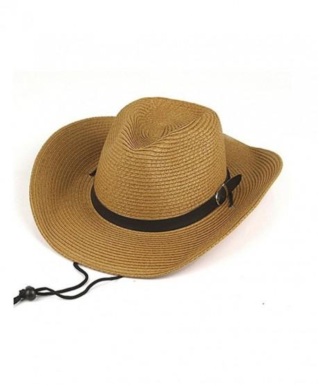 Opromo Adults Kids Cowboy Straw Hat Wide Brim Hat Summer Beach Sun Cap  Foldable - Khaki 63b65260a82