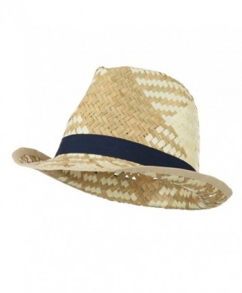 Colored Band Woven Straw Fedora - Navy - CV11KYP460X