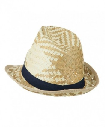 Colored Band Woven Straw Fedora