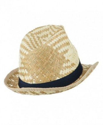 Colored Band Woven Straw Fedora in Men's Fedoras