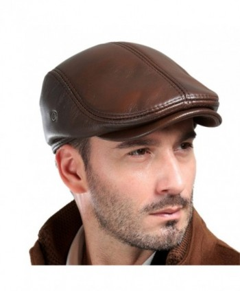Vemolla Men's Real Cowhide Leather Beret Hunting Cap Beanie Trucker Cap Mens Sports Hat - Ancient Brown - CY12O18UOV1