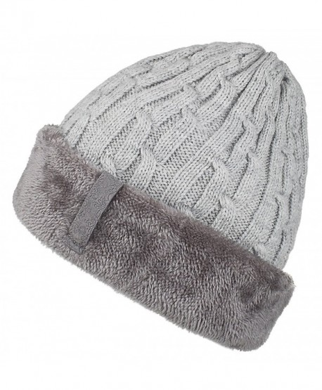 Spikerking Mens Knitting Caps Winter Hats Beanie Skull Hat With Thick Lining - Gray - CM187HY9IKQ