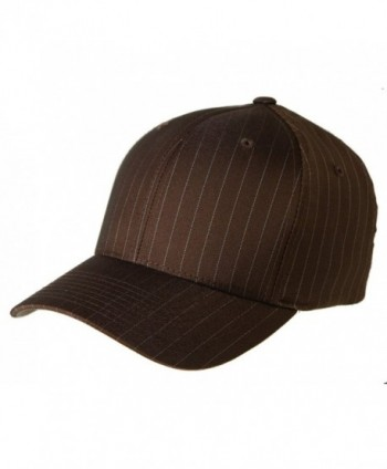 6195P Flexfit Stretch Twill Pinstripe Cap - Brown/White Pinstripe - C511OFWCHSJ