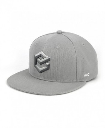 JHC Structured Adjustable Flat Bill Hip Hop Snapback Baseball Caps For Men - Grey - C0185X4RSYX