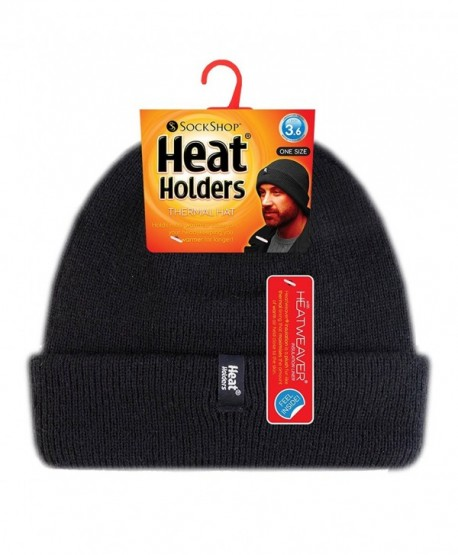 e5b4c9fc28985 Heat Holders - Men s Thermal Fleece Lined Turn Over Cuff Winter Hat - Black  - C01220W9W6P