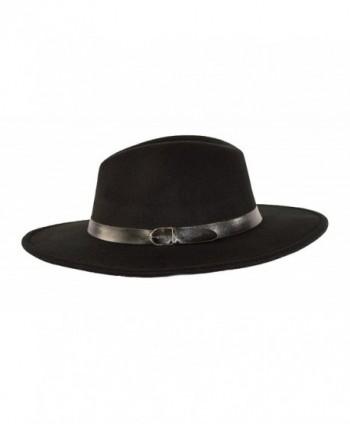 MWS Wide Brimmed Gangster Fedora w/Buckle Hatband- Large Felt Flat Brim Panama Hat - Black - CL185UCT7QL