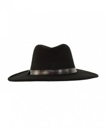 8924078b Wide Brimmed Gangster Fedora w/Buckle Hatband- Large Felt Flat Brim ...
