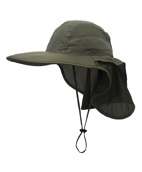 Connectyle Outdoor Neck Flap Sun Hat Large Brim Sun Protection Bucket Fishing Hats - Army Green - C917YYKDWDS