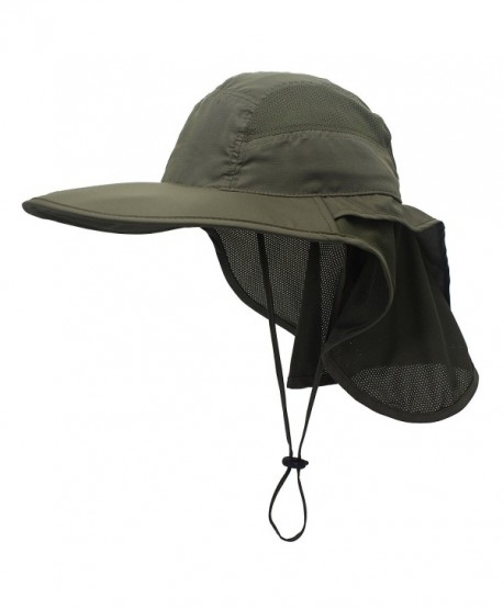 Connectyle Outdoor Neck Flap Sun Hat Large Brim Sun Protection Bucket Fishing  Hats - Army Green 3e930a744910